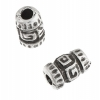 Metal Tube Bead 9X6mm Antique Silver Rigged